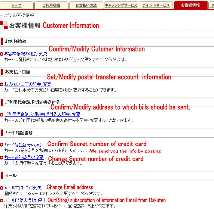 Rakuten card- e-NAVI English support