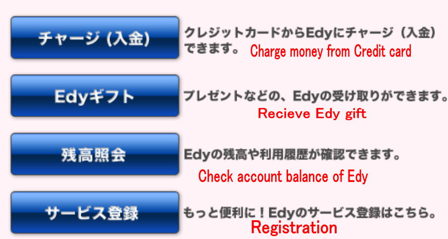 How to charge money to Edy step by step in English support